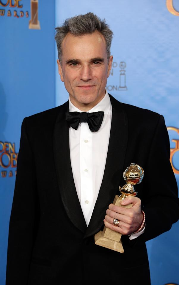 Daniel Day-Lewis poses in the press room at the 70th Annual Golden Globe Awards held at The Beverly Hilton Hotel on January 13, 2013 in Beverly Hills, California. (Photo by Jeff Vespa/WireImage)