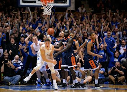 Grayson Allen celebrates after hitting his controversial buzzer-beater to top Virginia. (Getty)