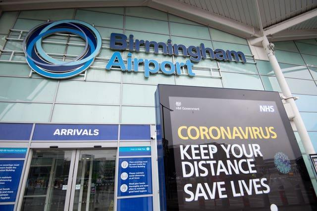 The passengers landed at Birmingham Airport (Jacob King/PA)