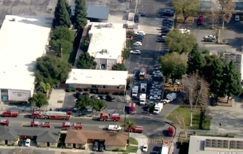 Emergency crews rushed to the school. Source: CBS Los Angeles