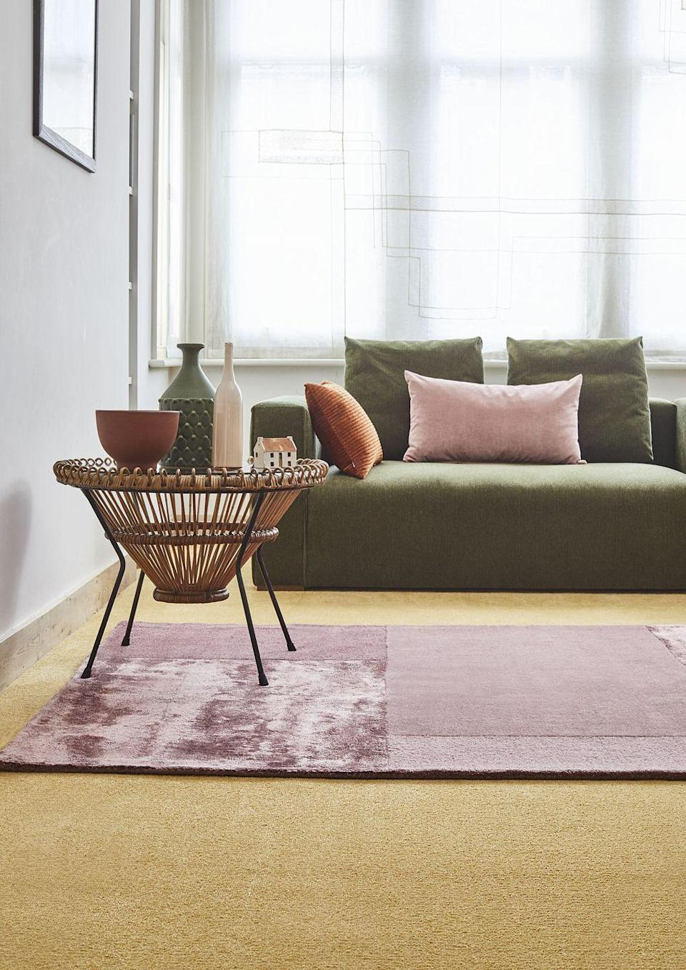 """<p>Pink and yellow may only sound appropriate for a child's bedroom or nursery, but softer shades are key to making it feel a bit more grown up. A mustard yellow mixed with a dusky pink in tactile fabrics such as wool or velvet, here matched with a lush forest green, creates a sophisticated colour scheme. </p><p>Pictured: <a href=""""https://www.carpetright.co.uk/carpets/shoreditch/"""" rel=""""nofollow noopener"""" target=""""_blank"""" data-ylk=""""slk:House Beautiful Shoreditch Carpet In Honey at Carpetright"""" class=""""link rapid-noclick-resp"""">House Beautiful Shoreditch Carpet In Honey at Carpetright</a></p>"""