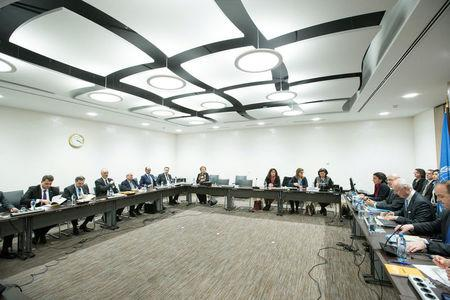 General view at the start of a meeting between UN Special Envoy for Syria Staffan de Mistura and Syrian government delegation during Syria peace talks in Geneva