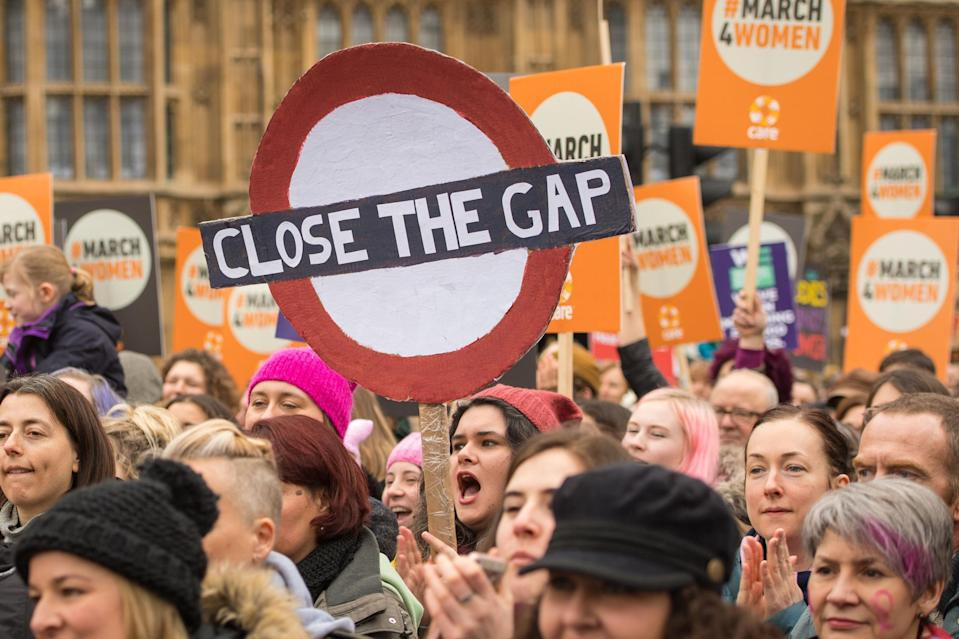 London demo: Protesters take part in the March4Women in Westminster (PA)