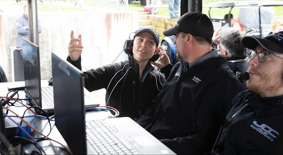 <em>Laura Wontrop Klauser, shown working in the IMSA paddock in 2019, is helping oversee three Cadillac DPi teams in the Rolex 24 at Daytona (GM Racing).</em>
