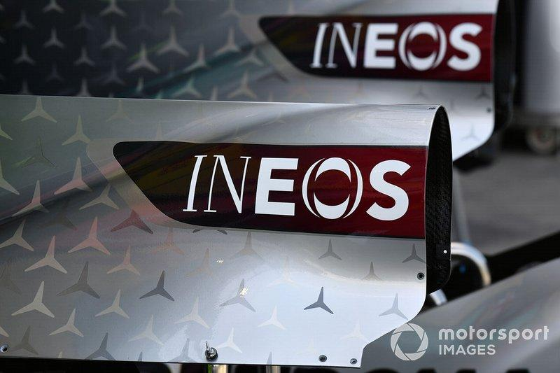 "The INEOS logo on the bodywork of the Mercedes F1 W11 <span class=""copyright"">Mark Sutton / Motorsport Images</span>"