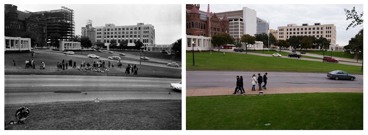 A combination shows (L) flower arrangements and spectators lining the street along Elm Street during a reconstruction of the Dealey Plaza crime scene by the United States Secret Service in this undated photograph taken in Dallas, Texas in 1963 and (R) visitors to Dealey Plaza walking along Elm and Commerce Streets in Dallas, Texas on November 10, 2013. The City of Dallas will hold commemoration ceremonies on November 22, 2013 marking the 50th anniversary of the assassination of President John F. Kennedy. REUTERS/Dallas Police Department/Dallas Municipal Archives/University of North Texas/Handout (L) and Adrees Latif (R) (UNITED STATES - Tags: POLITICS ANNIVERSARY CRIME LAW) ATTENTION EDITORS - THE IMAGE ON LEFT WAS PROVIDED BY A THIRD PARTY. FOR EDITORIAL USE ONLY. NOT FOR SALE FOR MARKETING OR ADVERTISING.MANDATORY CREDIT AS WRITTEN