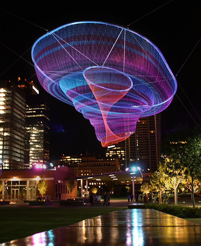 This sculpture is found in the Civic Space Park in Phoenix, Arizona and although it may appear delicate, it is designed to withstand heavy summer winds.  (Photo: Christina O'Haver)