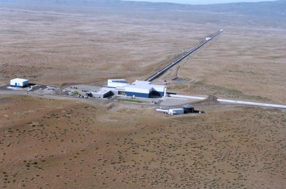 A 2005 picture of the Laser Interferometer Gravitational-Wave Observatory (LIGO) Hanford facility near Richland, Wash.