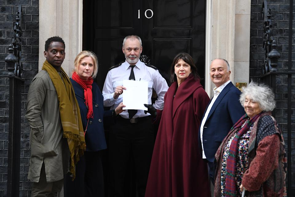 (left to right) , Kobna Holdbrook-Smith, Susannah Harker, President of Equity Maureen Beattie, Tony Robinson and Miriam Margolyes hand in petition to 10 Downing Street seeking support for the creative industries. (Photo by Stefan Rousseau/PA Images via Getty Images)