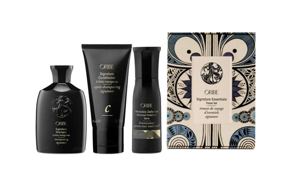 <p><span>Oribe Rowan Harrison Signature Essentials Travel Size Set</span> ($34, originally $45)</p>