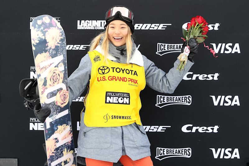 Chloe Kim #1 poses for photographers wearing her FIS points leader's bib after the Ladies Snowboard Halfpipe final during the Toyota U.S. Grand Prix on January 13, 2018 in Snowmass, Colorado.