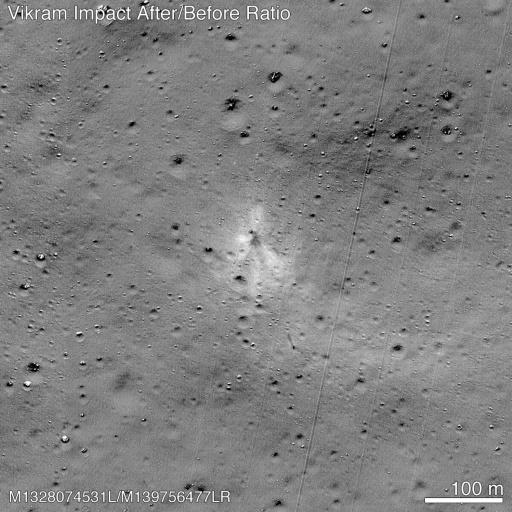 NASA released an image taken by its�Lunar Reconnaissance Orbiter that showed the site where India's Vikram lander crashed on the lunar surface in September 2019