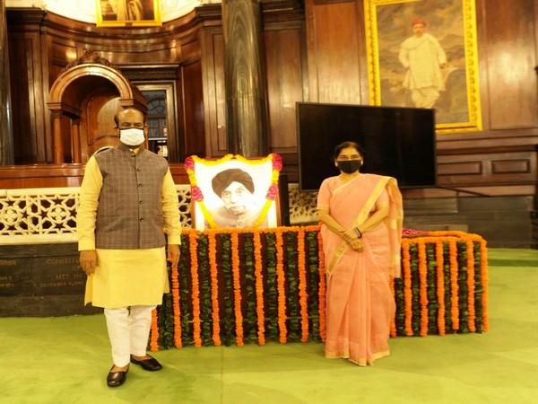Lok Sabha Speaker Om Birla after paying the floral tributes to former Speaker of Lok Sabha Sardar Hukam Singh in the Central Hall of Parliament House on Sunday.