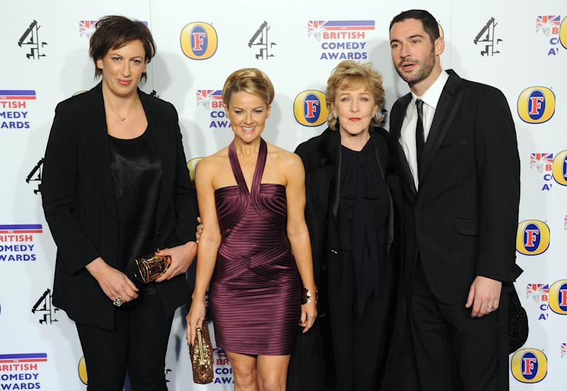 LONDON, UNITED KINGDOM - DECEMBER 16: (L-R) Miranda Hart, Sarah Hadland, Patricia Hodge and Tom Ellis attend the British Comedy Awards at Fountain Studios on December 16, 2011 in London, England. (Photo by Stuart Wilson/Getty Images)