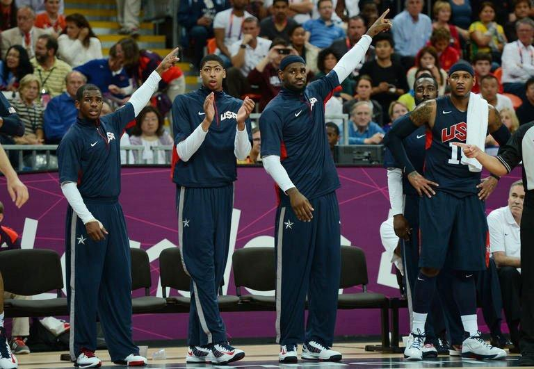 US players react during the men's basketball preliminary round match Argentina vs USA as part of the London 2012 Olympic Games at the Basketball Arena in London. Kevin Durant scored 28 points and the US NBA Dream Team defeated Argentina 126-97 on Monday to remain undefeated and book an Olympic quarter-final date Wednesday against Australia