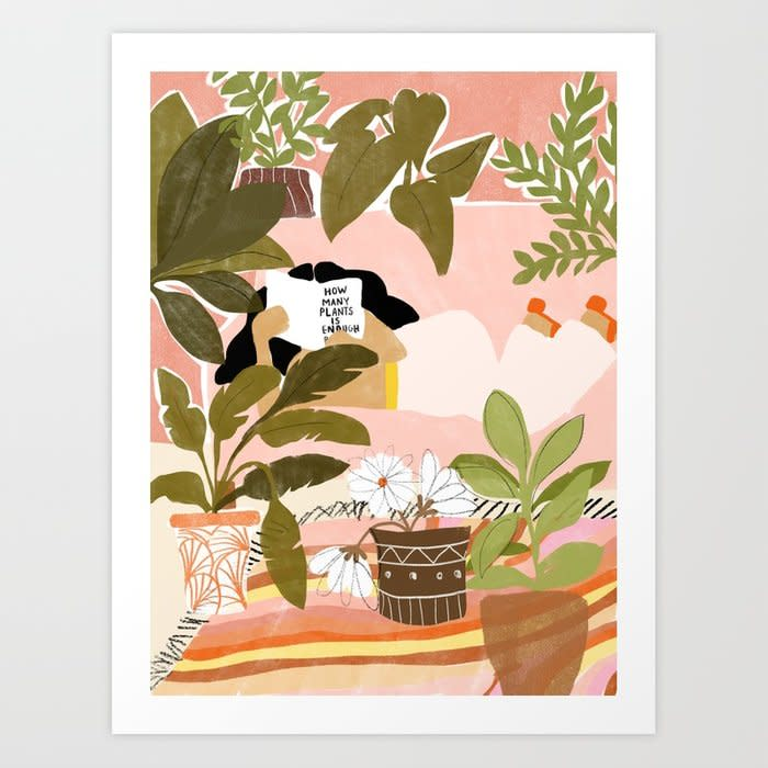 """<p><strong></strong></p><p>society6.com</p><p><strong>$39.99</strong></p><p><a href=""""https://go.redirectingat.com?id=74968X1596630&url=https%3A%2F%2Fsociety6.com%2Fproduct%2Fhow-many-plants-is-enough-plants_print&sref=http%3A%2F%2Fwww.housebeautiful.com%2Fshopping%2Fhome-accessories%2Fg23943021%2Fplaces-to-buy-wall-art-online%2F"""" target=""""_blank"""">SHOP NOW</a></p><p><strong>Pictured: </strong><em>""""How Many Plants Is Enough?"""" by Alja Horvat</em></p><p><a href=""""https://society6.com/"""" target=""""_blank""""><em></em>Society 6</a> is one of the best options for more affordable art—perfect for if you're filling up an entire gallery wall. You can browse by artist, search by style, color, keyword, and more, and get just about any design you like in framed or unframed prints, canvas art, tapestries, and even home goods. </p>"""