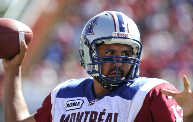 Montreal Alouettes' quarterback Anthony Calvillo in action against the Calgary Stampeders during first half CFL acton in Calgary on Friday July 1st, 2011. CFL PHOTO-Larry MacDougal