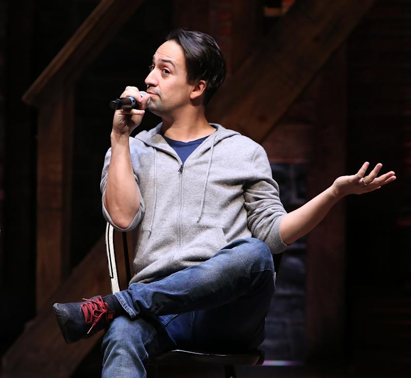"""NEW YORK, NY - MARCH 20: Lin-Manuel Miranda makes a surprise appearance during a Q & A before The Rockefeller Foundation and The Gilder Lehrman Institute of American History sponsored High School student #EduHam matinee performance of """"Hamilton"""" at the Richard Rodgers Theatre on 3/20/2019 in New York City. (Photo by Walter McBride/Getty Images)"""