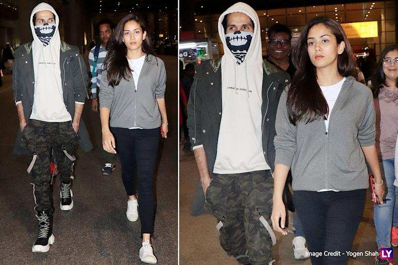 Airport Style - Shahid Kapoor and Mira Rajput
