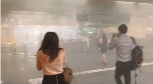 Thick smoke inside Newton MRT station.