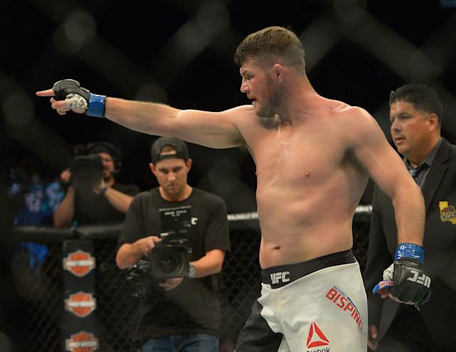 Michael Bisping announced his retirement from MMA on Monday, citing eye injuries that leave him seeing flashes in the dark. (Getty)