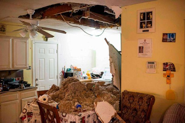 PHOTO: The collapsed ceiling of a home after an explosion at a northwest Houston, Texas, manufacturing business, Jan. 24, 2020. (Mark Felix/AFP via Getty Images)