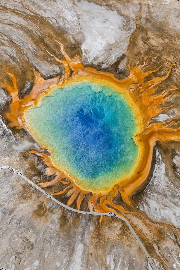 <p><strong>Where: </strong>Grand Prismatic Spring, Wyoming</p><p><strong>Why We Love It: </strong>Located in Yellowstone National Park's Midway Geyser Basin, America's largest hot spring gets its name from its striking colors that fade from bright orange to blue.</p>