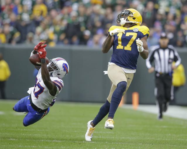 <p>Buffalo Bills' Tre'Davious White breaks up a pass intended for Green Bay Packers' Davante Adams during the second half of an NFL football game Sunday, Sept. 30, 2018, in Green Bay, Wis. (AP Photo/Jeffrey Phelps) </p>