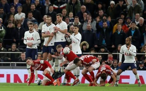 <span>Boro players duck as Wing tries to bend a freekick in</span> <span>Credit: REUTERS </span>