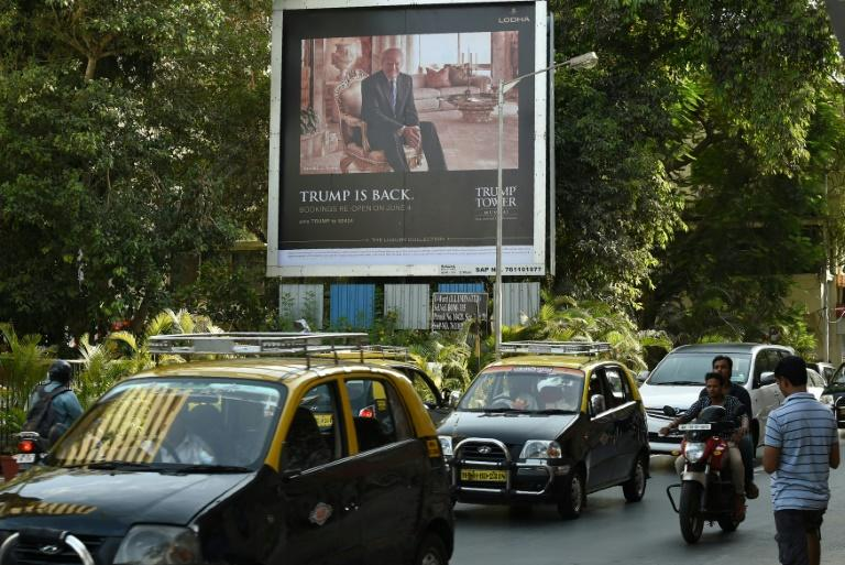Photo taken in 2016 shows a billboard for the luxury residential apartment complex Trump Tower Mumbai