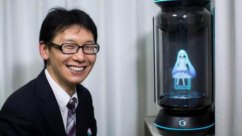 None of Akihiko Kondo's relatives attended his wedding to a hologram of virtual reality singer Hatsune Miku. Image: AFP