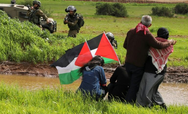 Palestinians demonstrated against the annexation of the Jordan Valley in the village of Tammun, east of the West Bank village of Tubas, on February 29, 2020 (AFP Photo/JAAFAR ASHTIYEH)