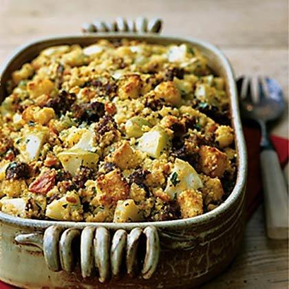 """<p>As all-American as Thanksgiving, cornbread dressing is a must for any holiday table--with or without the bird. Use fresh chorizo: a highly seasoned, coarsely ground pork sausage. Store-bought corn muffin mixes tend to be sweet, so substitute your own recipe if you prefer. (Make sure it yields 10 cups.)</p> <p><a href=""""https://www.myrecipes.com/recipe/cornbread-dressing-with-chorizo-apples"""">Cornbread Dressing with Chorizo and Apples Recipe</a></p>"""