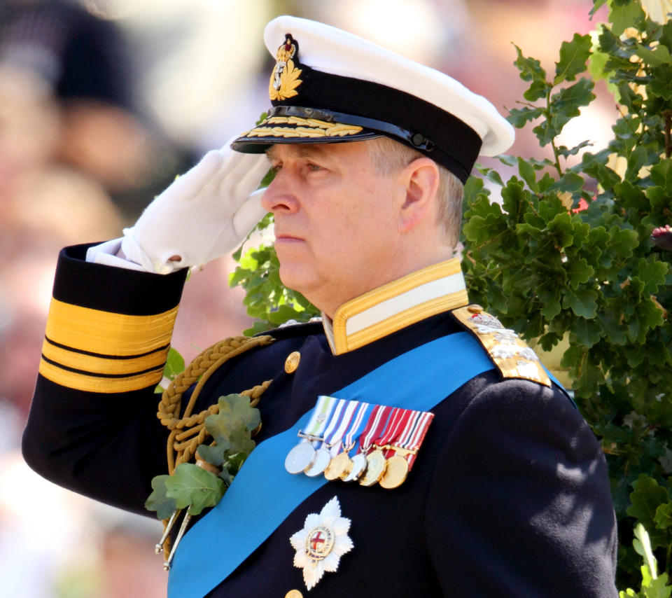 LONDON, UNITED KINGDOM - JUNE 04: (EMBARGOED FOR PUBLICATION IN UK NEWSPAPERS UNTIL 48 HOURS AFTER CREATE DATE AND TIME) Prince Andrew, Duke of York takes the salute during the annual Founder's Day Parade at the Royal Hospital Chelsea on June 4, 2015 in London, England. (Photo by Max Mumby/Indigo/Getty Images)