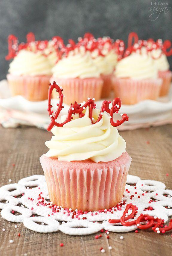 """<p>Swap out melted chocolate for candy melts to make these love toppers. </p><p><a href=""""http://www.lifeloveandsugar.com/2016/01/18/strawberry-cupcakes-cream-cheese-frosting/ """" rel=""""nofollow noopener"""" target=""""_blank"""" data-ylk=""""slk:Get the recipe from Life, Love and Sugar »"""" class=""""link rapid-noclick-resp""""><em>Get the recipe from Life, Love and Sugar »</em></a></p>"""