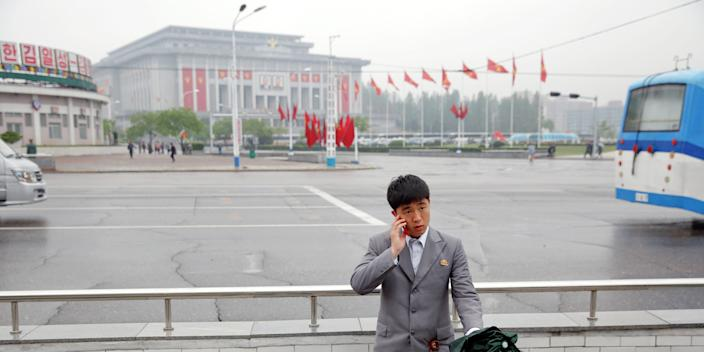 A in front of the April 25 House of Culture, the venue of the Workers' Party of Korea congress in Pyongyang, North Korea.