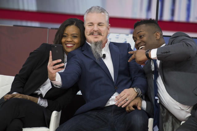 From left, Candace Owens, Chris Loesch, and Lawrence Jones III  at the Conservative Political Action Conference on Feb. 22. (Photo: Tom Williams/CQ Roll Call)