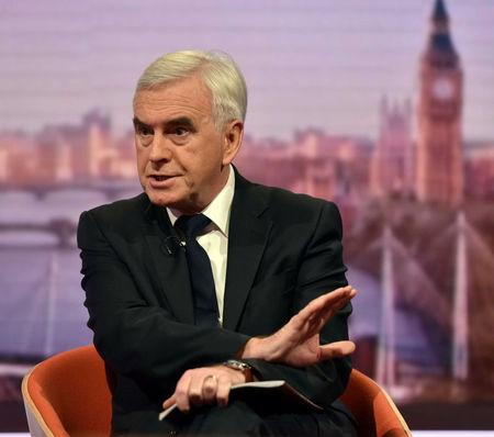 Britain's Shadow Chancellor of the Exchequer John McDonnell attends the BBC's Marr Show in London, November 19, 2017. Jeff Overs/BBC Handout via REUTERS