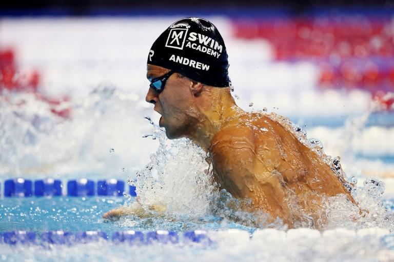 Michael Andrew on the way to victory in the 100m breaststroke at the US Olympic swimming trials and a berth at the Tokyo Games