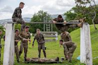 Members of the Royal Navy HADR Troop and the French troops taking part in the stretcher assault course at at Fort Saint Louis, Fort De France, Martinique (Picture: UK MOD/Crown 2019)