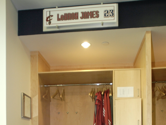 "<a class=""link rapid-noclick-resp"" href=""/nba/players/3704/"" data-ylk=""slk:LeBron James"">LeBron James</a>' locker has been replaced with a towel closet in the Cavaliers' locker room. (AP Photo)"