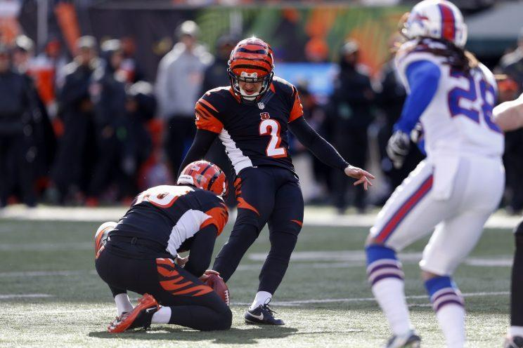 Cincinnati's Mike Nugent won the award for worst kicker on a day everyone was vying for the honor. (AP)