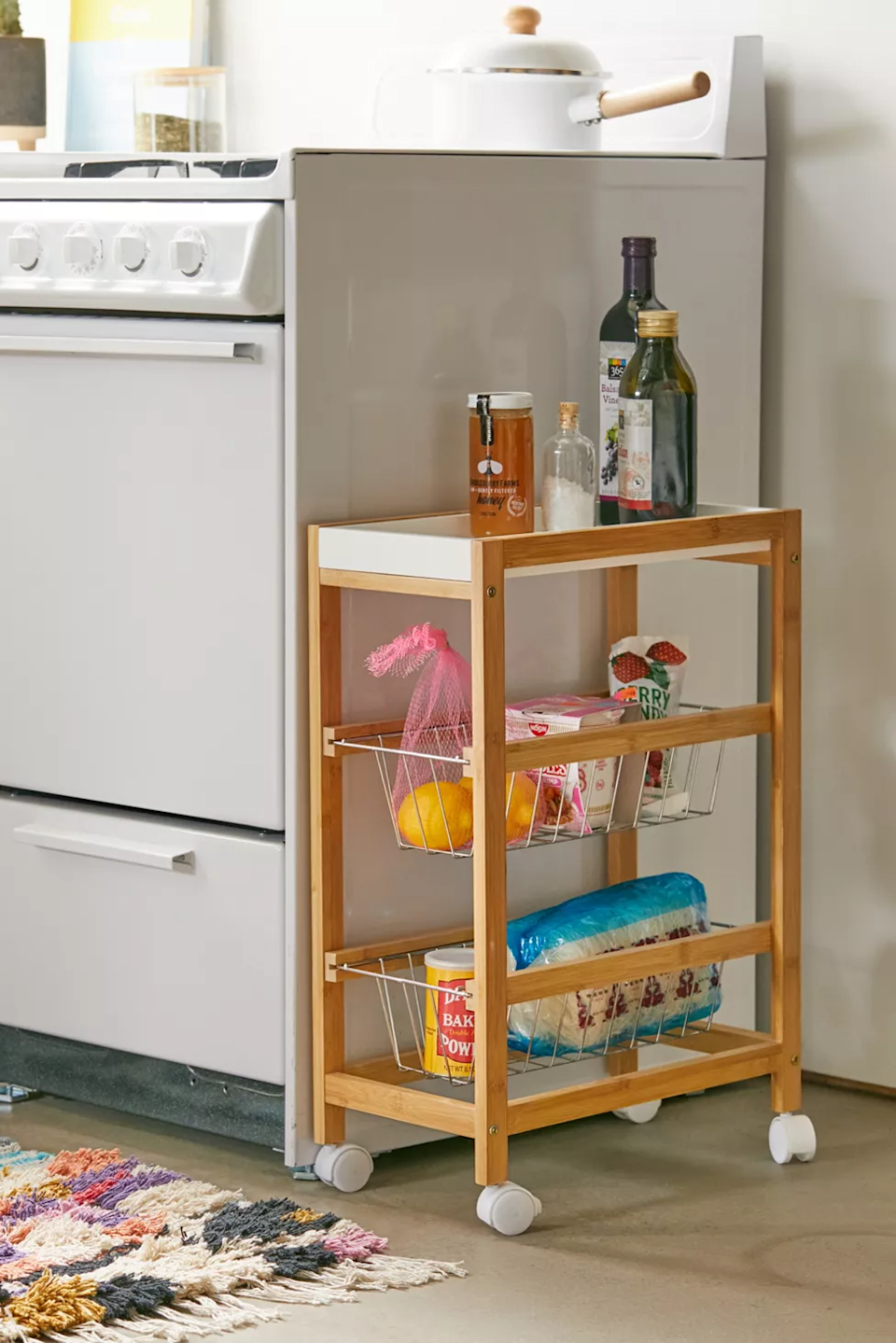 "<h3><a href=""https://www.urbanoutfitters.com/shop/barkley-kitchen-cart"" rel=""nofollow noopener"" target=""_blank"" data-ylk=""slk:Urban Outfitters Barkley Kitchen Cart"" class=""link rapid-noclick-resp"">Urban Outfitters Barkley Kitchen Cart</a></h3><br><strong>When you don't have a ""real"" kitchen</strong>: Tiny apartments usually don't come complete with separate kitchen spaces — or any kitchen space at all — which is where a multi-storage-capable unit comes in handy.<br><br><strong>Urban Outfitters</strong> Barkley Kitchen Cart, $, available at <a href=""https://go.skimresources.com/?id=30283X879131&url=https%3A%2F%2Fwww.urbanoutfitters.com%2Fshop%2Fbarkley-kitchen-cart%3F"" rel=""nofollow noopener"" target=""_blank"" data-ylk=""slk:Urban Outfitters"" class=""link rapid-noclick-resp"">Urban Outfitters</a>"