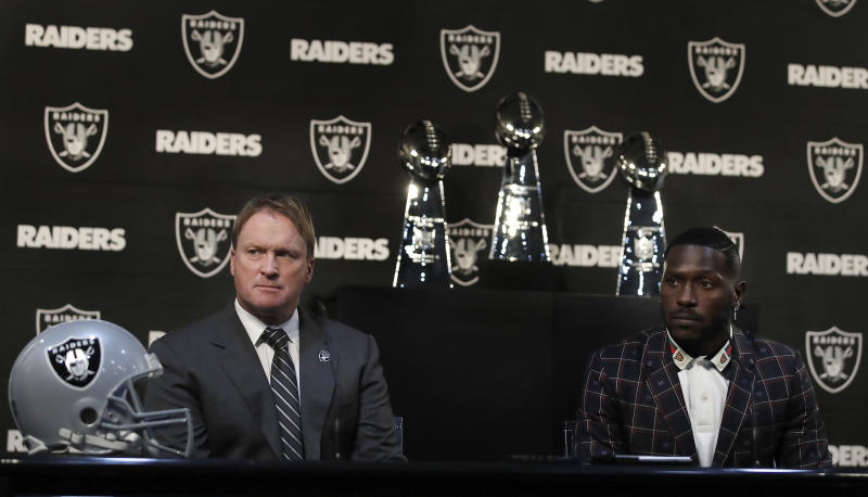 Oakland Raiders coach Jon Gruden, left, and wide receiver Antonio Brown during Brown's introductory press conference. (AP)