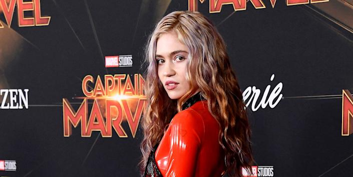"""Grimes at the premiere of """"Captain Marvel"""" last March."""