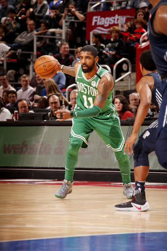 DETROIT, MI - FEBRUARY 23: Kyrie Irving #11 of the Boston Celtics handles the ball during the game against the Detroit Pistons on February 23, 2018 at Little Caesars Arena in Detroit, Michigan. (Photo by Brian Sevald/NBAE via Getty Images)