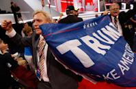 <p>A Trump-supporting delegate cheers while holding a Trump banner as the Republican National Convention Rules Committee announces that it will not hold a recorded vote on the Rules Committee's Report and rejects the efforts of anti-Trump forces at the Republican National Convention in Cleveland, Ohio, U.S. July 18, 2016. (Jonathan Ernst/Reuters)</p>