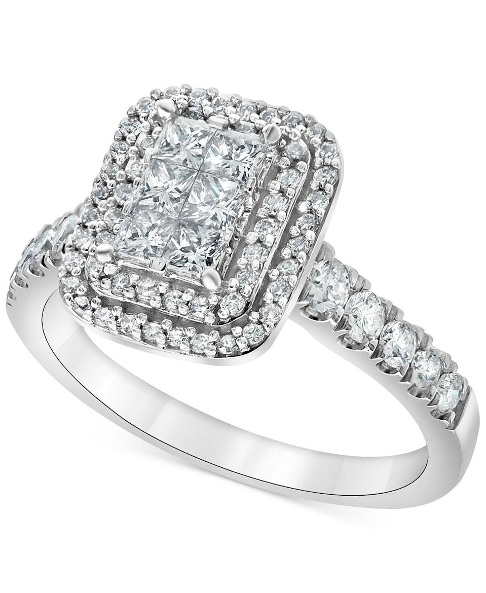 <p>Clusters of diamonds fool the eyes, and this <span>Diamond Princess Halo Engagement Ring </span> ($2,180, originally $4,496) does the trick.</p>