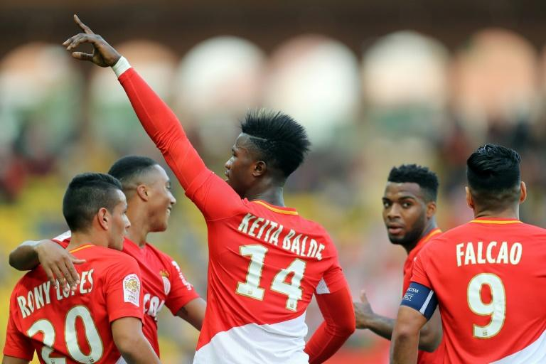 "Monaco forward Keita Balde celebrates after scoring a goalagainst Caen on October 21, 2017 at the ""Louis II Stadium"" in Monaco"