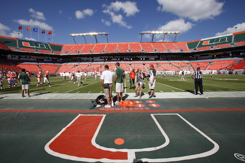 FILE - In this Saturday, Oct. 22, 2011 file photo, Sun Life Stadium is shown before the start of an NCAA football game between the Miami Hurricanes and the Georgia Tech Yellow Jackets, in Miami.  Football stadiums in the Atlantic Coast Conference generally are less full than they were last year. The 12 ACC teams have been filled to only 86.9 percent capacity this season. According to league data, its stadiums were roughly 90 percent full during the 2010 regular season. (AP Photo/Wilfredo Lee)